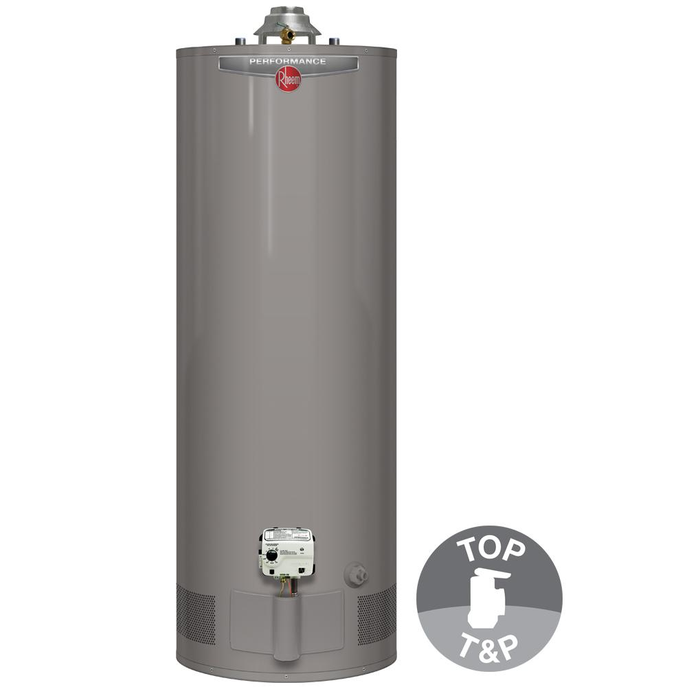 rheem performance 40 gal tall 6 year 36 000 btu natural gas tank water heater with top t and p. Black Bedroom Furniture Sets. Home Design Ideas