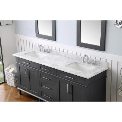 Sonoma 72 in. W x 22 in. D Vanity in Dark Charcoal with Vanity Top in Carrara with White Basins