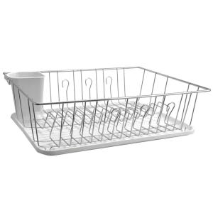 17.5 in. White and Chrome Countertop Dish Rack