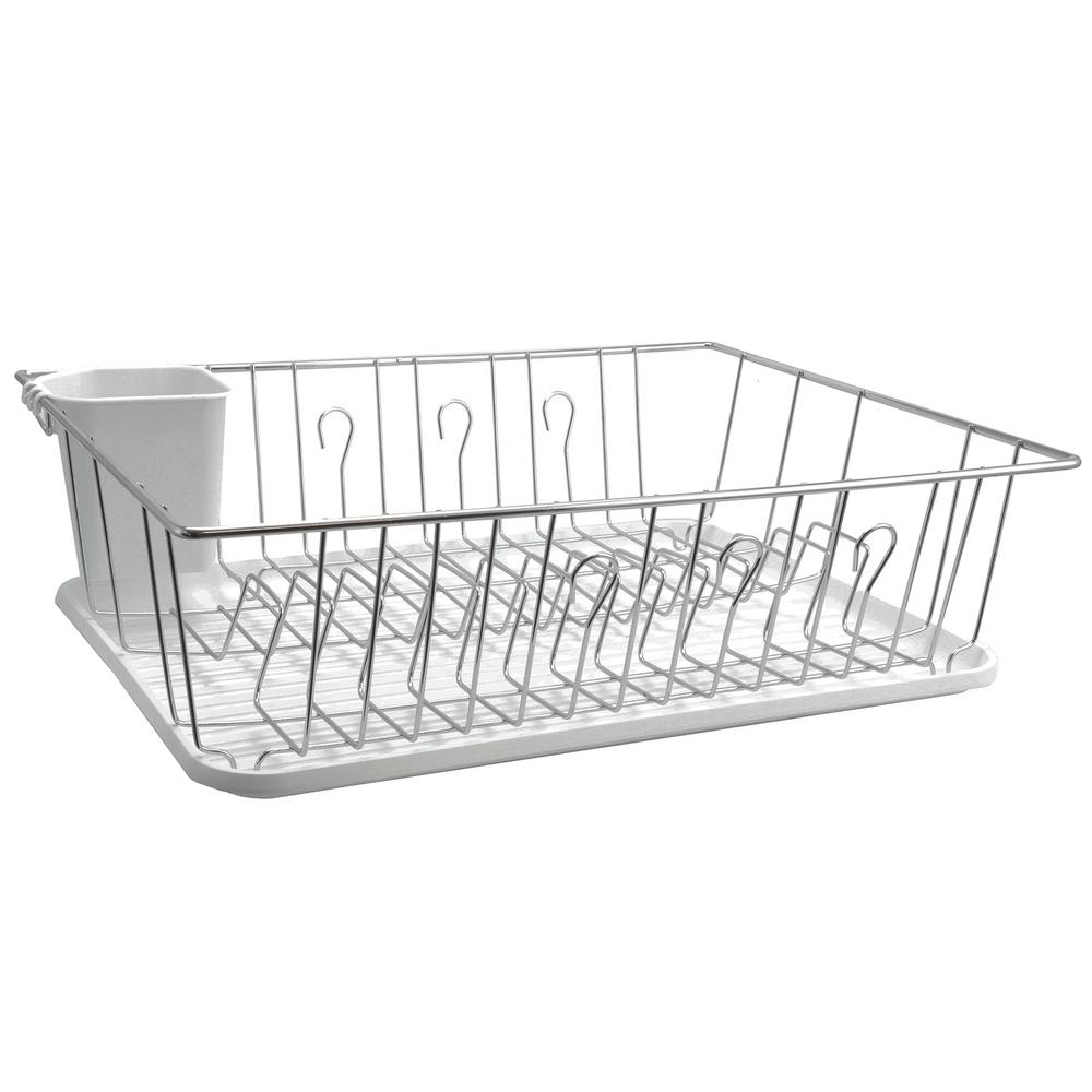 MegaChef 17.5 in. White and Chrome Countertop Dish Rack