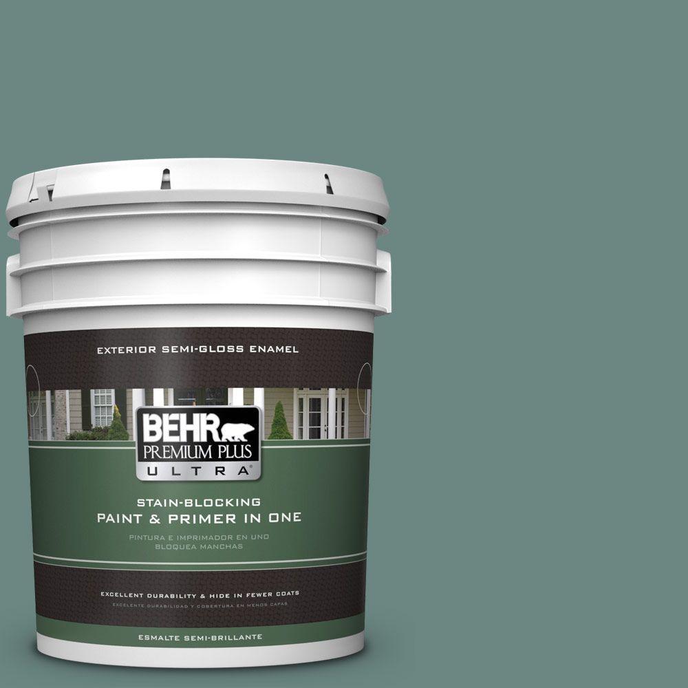 5-gal. #480F-5 Marsh Creek Semi-Gloss Enamel Exterior Paint