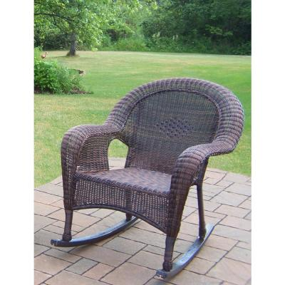 Coffee Wicker Outdoor Rocking Chair (2-Pack)