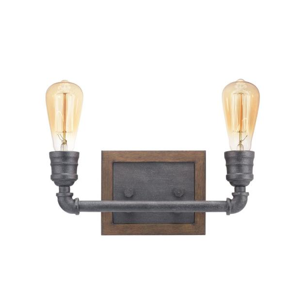 Palermo Grove 2-Light Gilded Iron Vanity Light with Painted Walnut Wood Accents