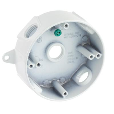 1/2 in. White 5-Holes 4 in. Round Weatherproof Box