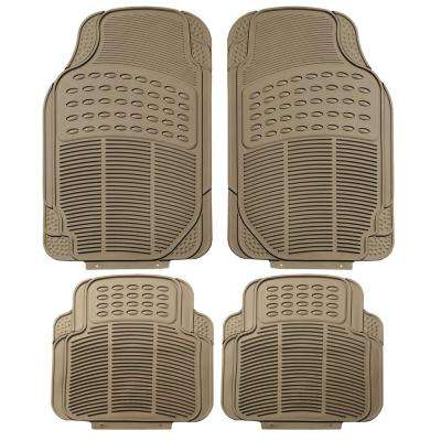 Beige Durable Heavy Duty 29 in. x 18 in. x 2 in. Rubber Car Floor Mats (4-Piece)