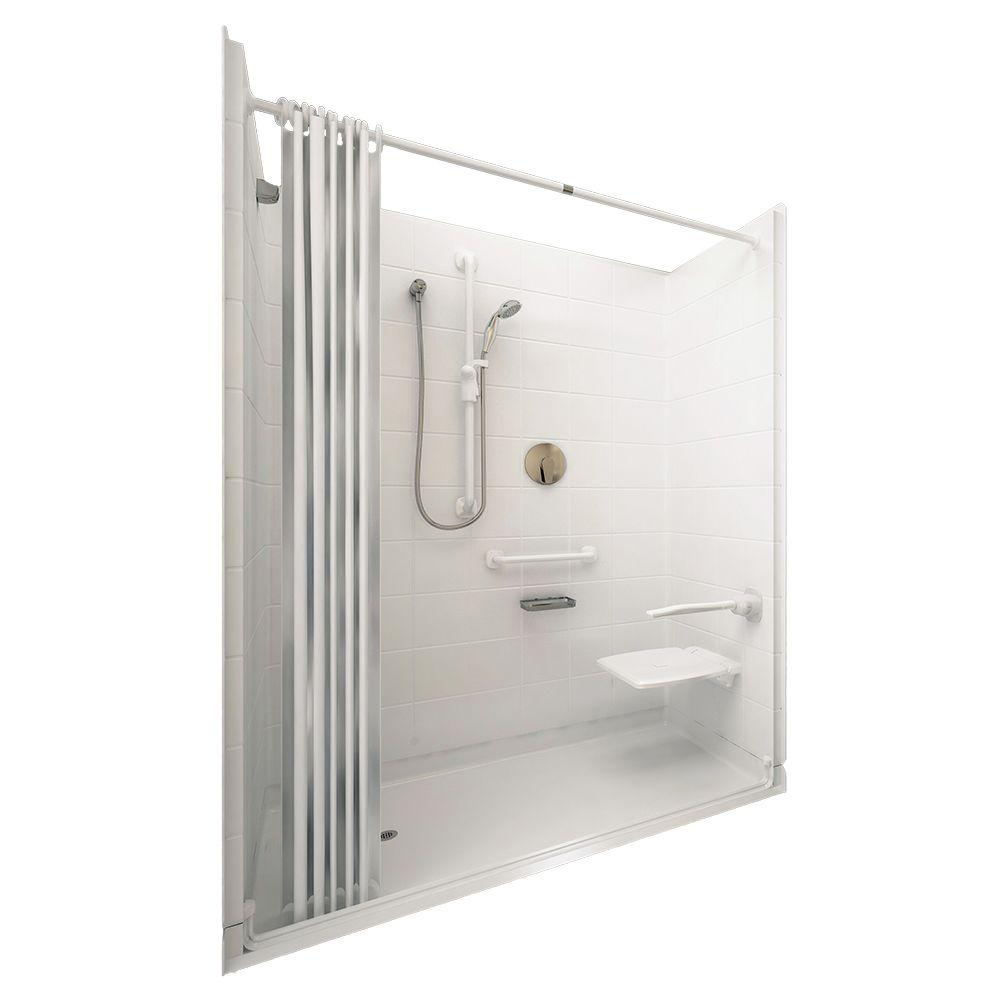 Ella Elite White 33-4/12 in. x 60 in. x 77-1/2 in. 5-piece Barrier Free Roll In Shower System in White with Left Drain