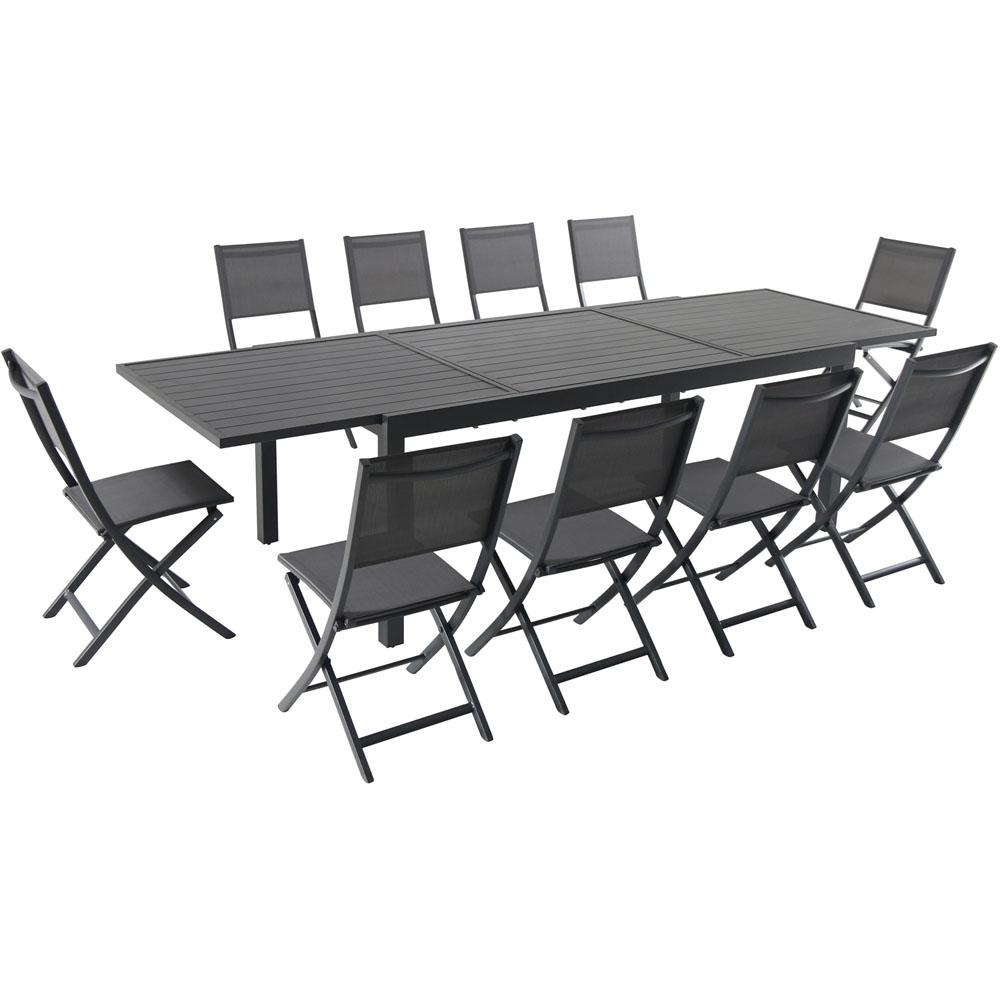 Hanover Naples 11-Piece Aluminum Outdoor Dining Set with 10-Folding Sling  Chairs and a 40 in. x 118 in. Expandable Dining Table