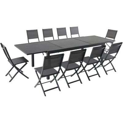 Naples 11-Piece Aluminum Outdoor Dining Set with 10-Folding Sling Chairs and a 40 in. x 118 in. Expandable Dining Table