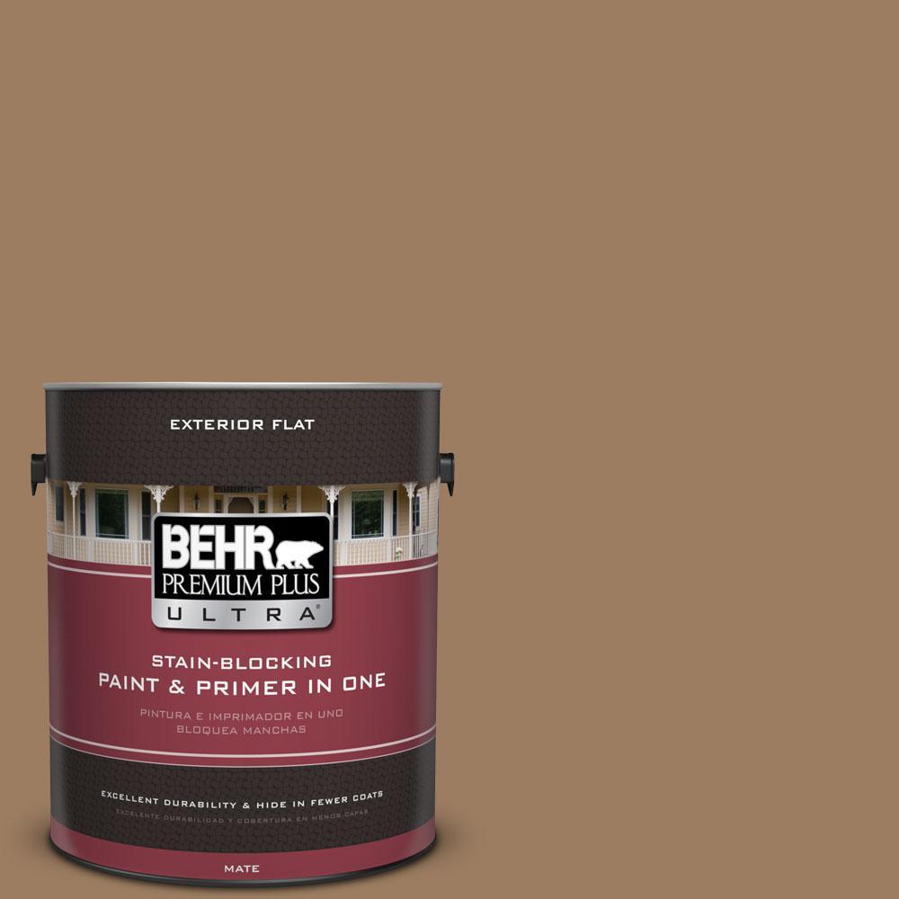 BEHR Premium Plus Ultra 1-gal. #BXC-08 Safari Brown Flat Exterior Paint