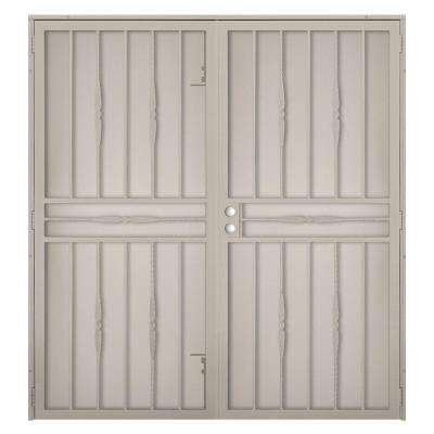 72 in. x 80 in. Cottage Rose Tan Surface Mount Outswing Steel Security Double Door with Expanded Metal Screen