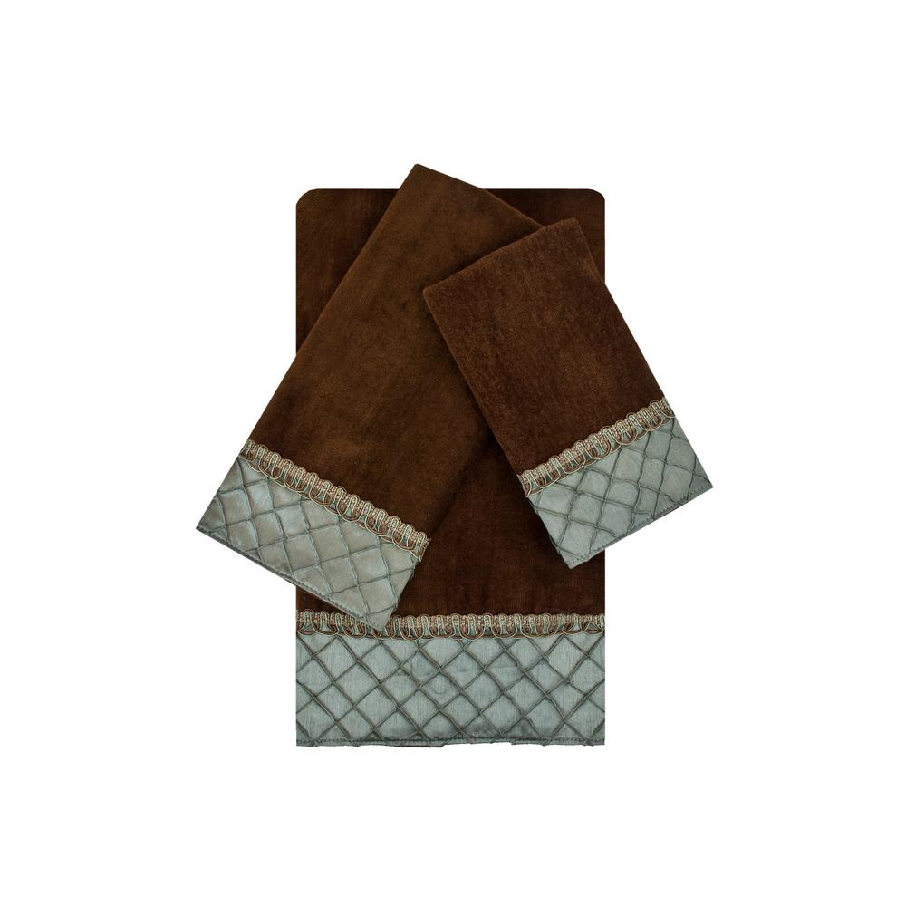 Pleated Diamond Brown and Blue Embellished Towel Set (3-Piece)