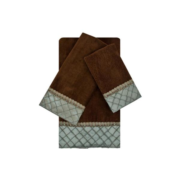 Sherry Kline Pleated Diamond Brown and Blue Embellished Towel Set (3-Piece)