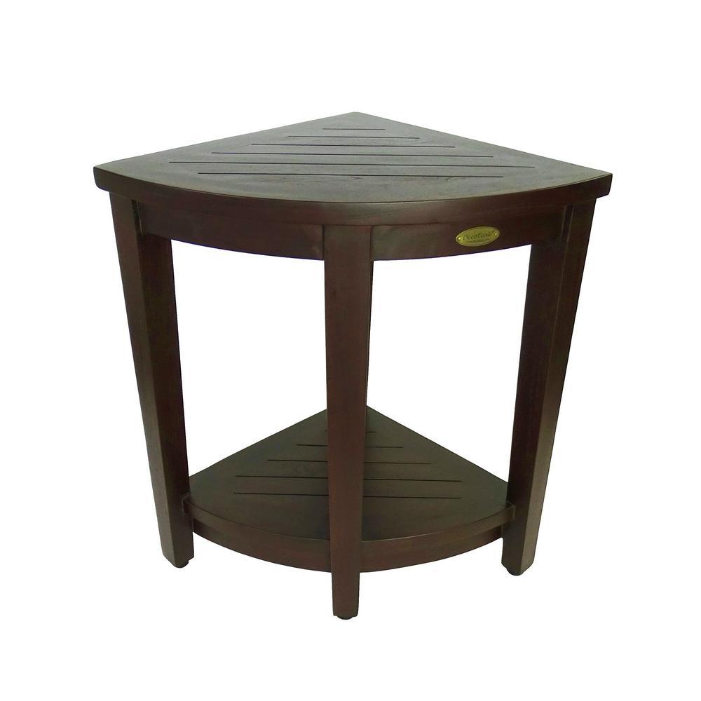 DecoTeak Oasis Extended Height Teak Corner Shower Bench with Shelf ...