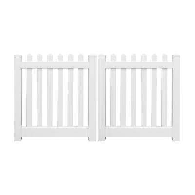 Plymouth 10 ft. W x 4 ft. H White Vinyl Picket Fence Double Gate Kit Includes Gate Hardware
