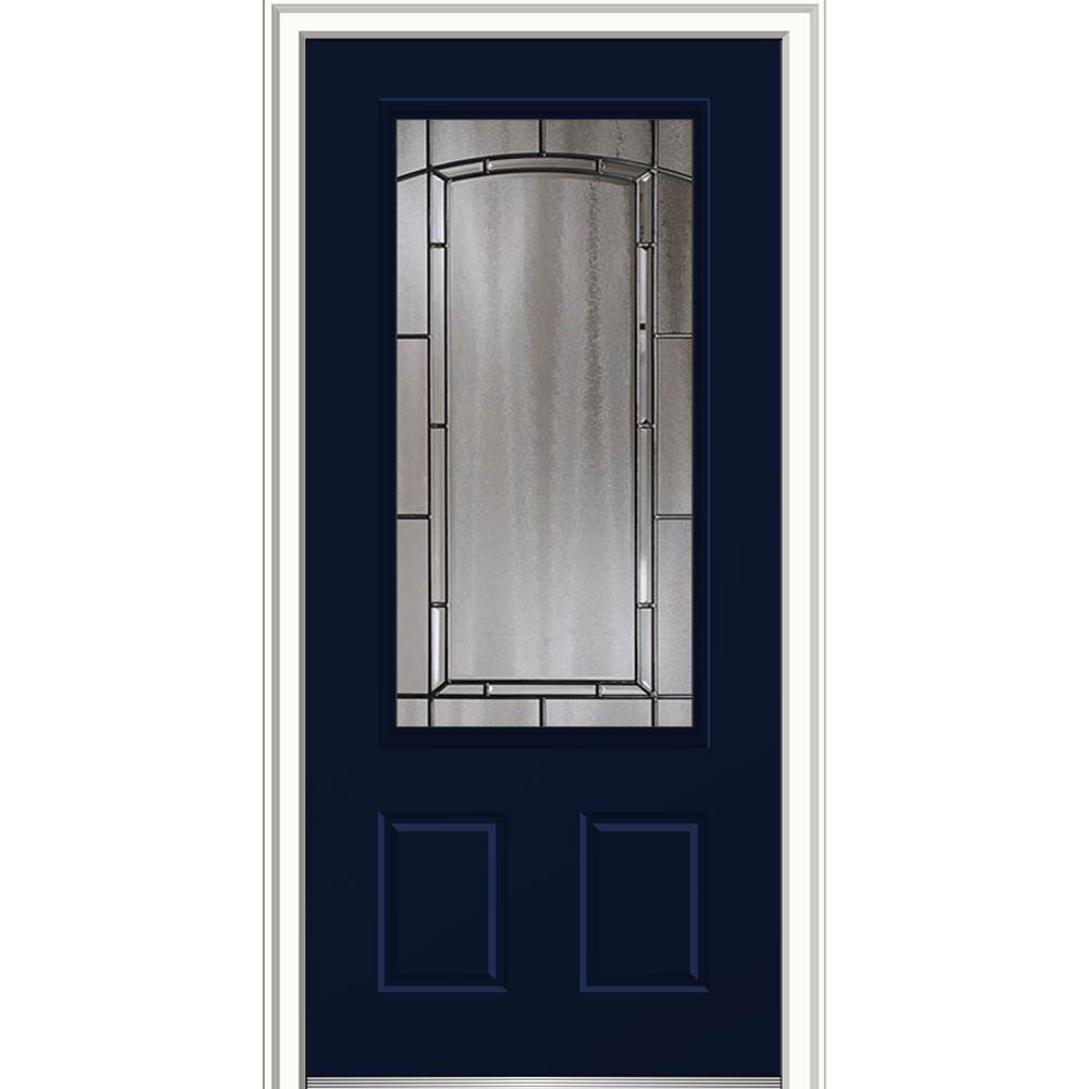 Mmi Door 32 In X 80 In Solstice Glass Naval Right Hand 3 4 Lite 2 Panel Painted Steel Prehung