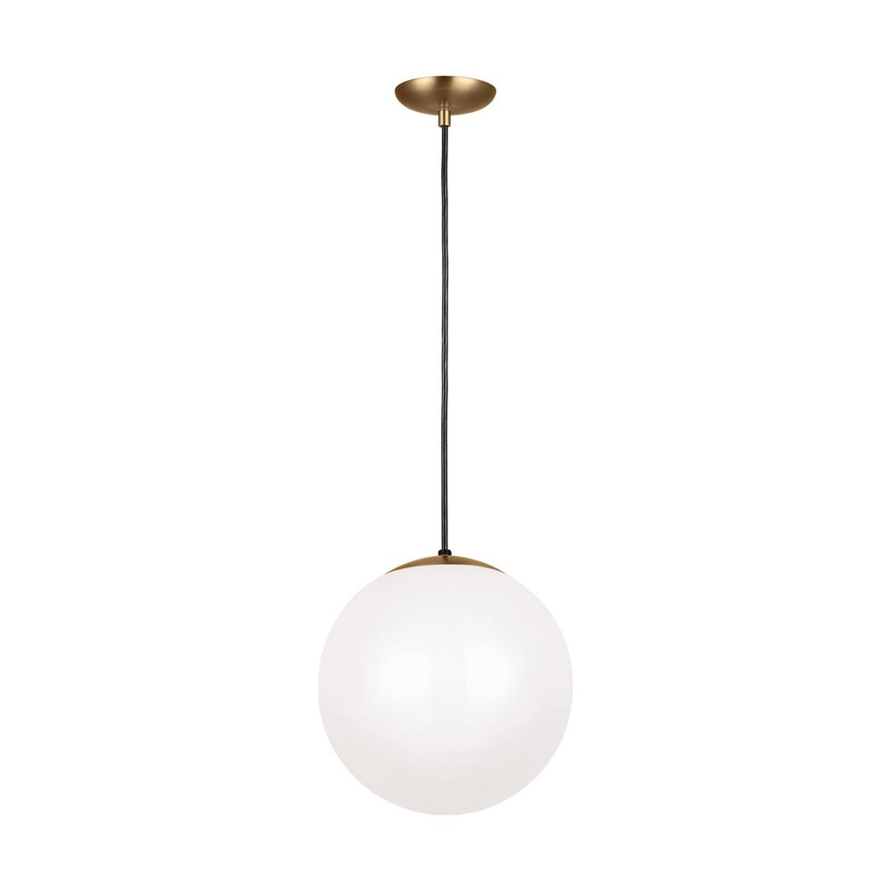 super popular 6b499 4e87c Sea Gull Lighting Leo Hanging Globe 14 in. 1-Light Satin Bronze Pendant  with Smooth White Glass with LED Bulb