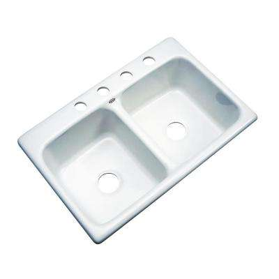 Newport Drop-in Acrylic 33x22x9 4-Hole Double Bowl Kitchen Sink in White