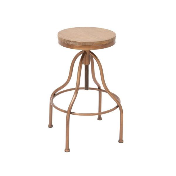 undefined 34 in. Copper Gold and Brown Wood and Metal Bar Stool