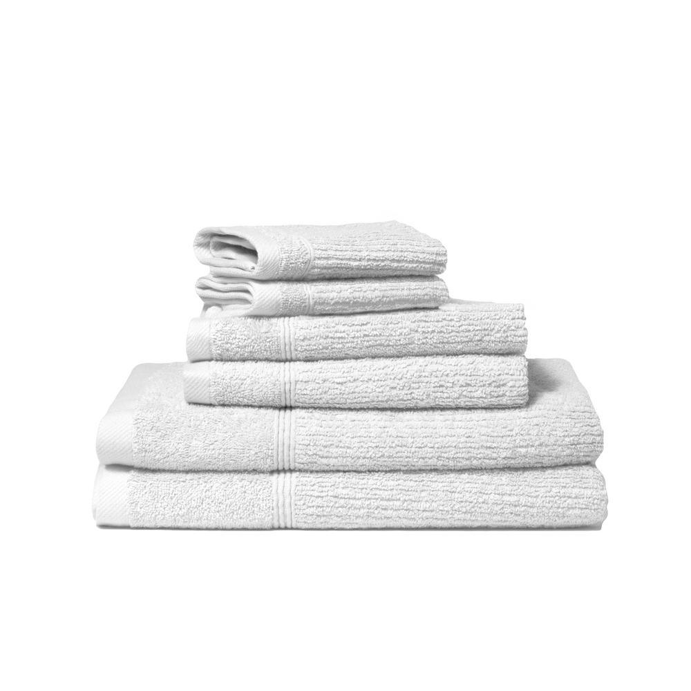 Lintex Donna 6-Piece 100% Cotton Bath Towel Set in White 871610