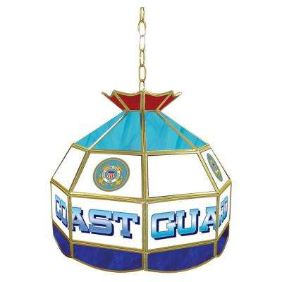 United States 16 in. Coast Guard Hanging Tiffany Lamp