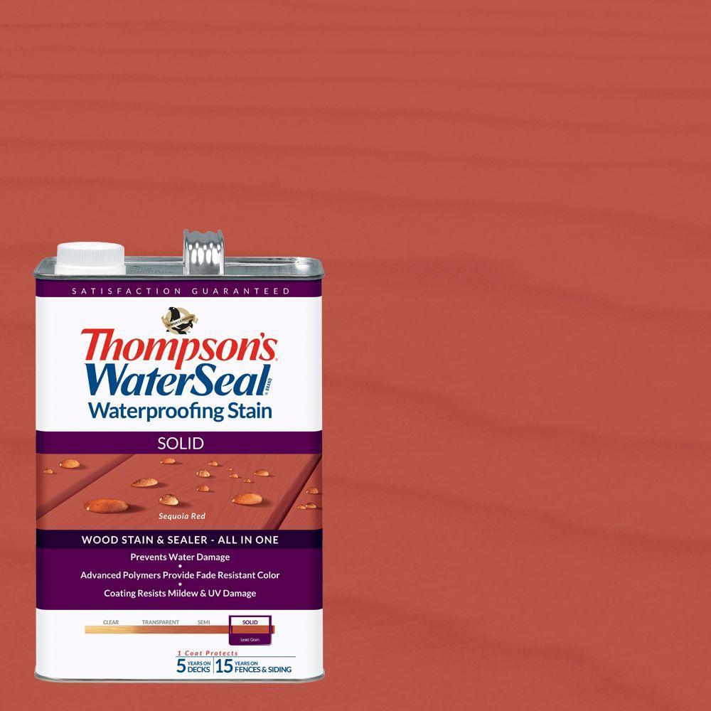 1 gal. Solid Sequoia Red Waterproofing Stain Exterior Wood (4-Pack)