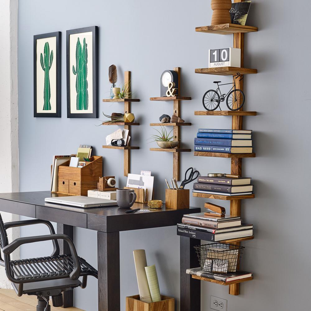 Design Ideas Takara Column Shelf 8 in. x 8.5 in. x 63 in. Teak Wood Wall-Mounted Decorative Wall Shelf