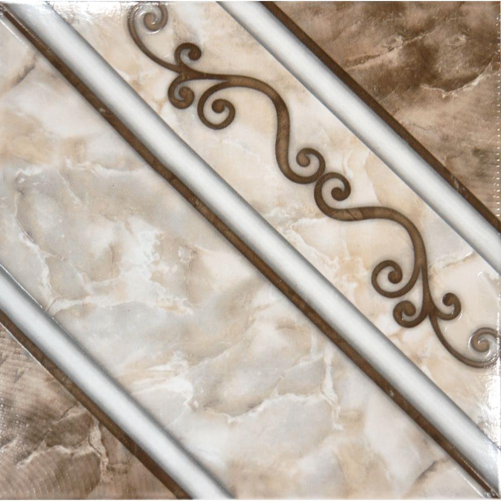 Dal-Tile Salerno Marrone Chiaro 12 in. x 12 in. Glazed Ceramic Floor ...