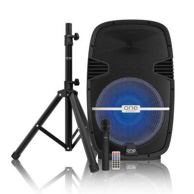 Surge DJ System/15 in. BT Party Speaker Set with Rechargeable Battery, Wireless Mic, Remote and Tripod