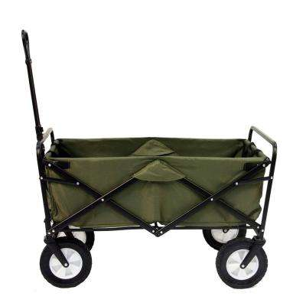 Collapsible Folding Steel Frame Garden Utility Wagon Cart, Green