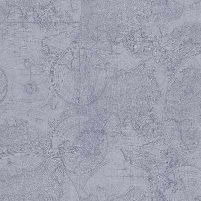 56.4 sq. ft. Cartography Blue Vintage World Map Wallpaper