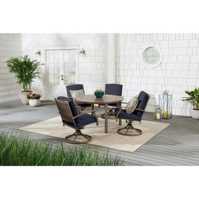Geneva Brown Wicker Outdoor Patio Swivel Dining Chair with CushionGuard Midnight Navy Blue Cushions (2-Pack)