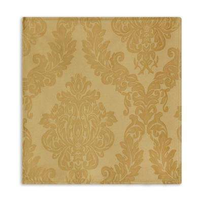 60 in. W x 84 in. L Oblong Gold Elrene Barcelona Damask Fabric Tablecloth