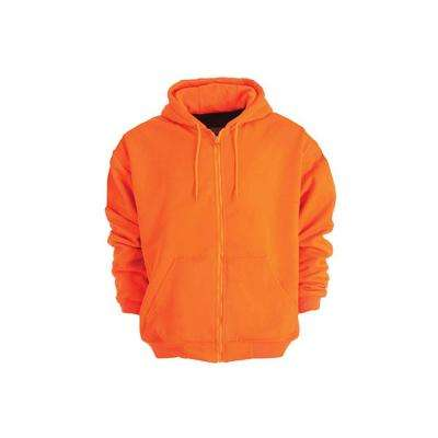 Men's 5 XL Regular Orange 100% Polyester Enhanced Visibility Hooded Sweatshirt