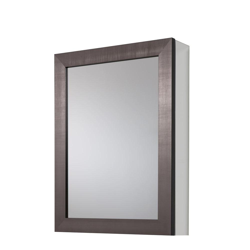 20 in. x 26 in Framed Aluminum Recessed or Surface-Mount Bathroom Medicine Cabinet in Coppered Pewter