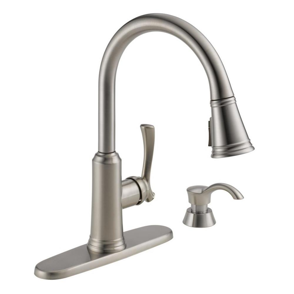 Delta Lakeview Single-Handle Pull-Down Sprayer Kitchen Faucet with ShieldSpray Technology and Soap Dispenser in Stainless
