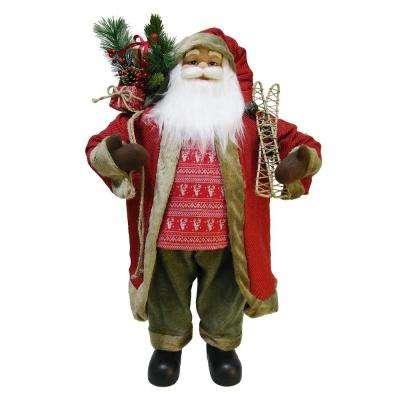 3 ft Christmas Santa with Present Bag and Skis