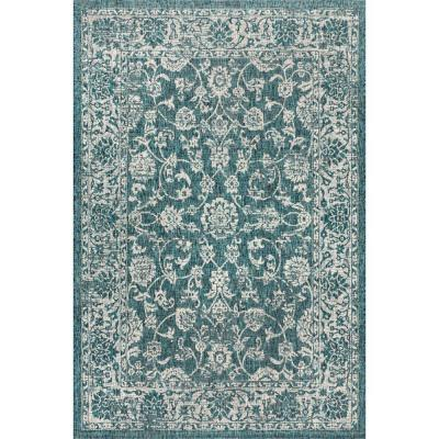 Tela Bohemian Teal/Gray 7 ft. 9 in. x 10 ft. Textured Weave Floral Indoor/Outdoor Area Rug
