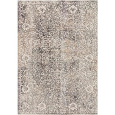 Eden Stone/Ivory 5 ft. x 8 ft. Traditional Polyester and Viscose Area Rug