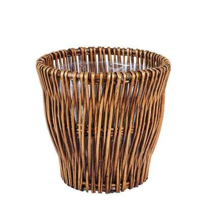 4.46 Gal. Small Willow Waste Basket with Liner in Dark Brown