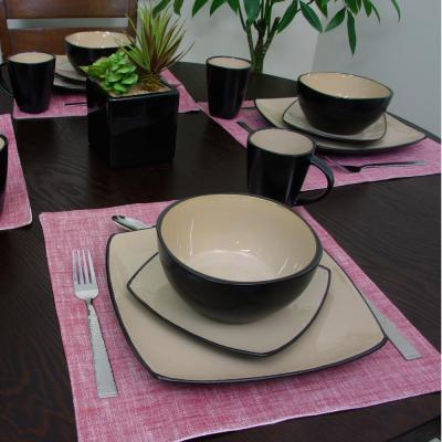 Soho Lounge 16-Piece Black and Taupe Square Stoneware Dinnerware Set