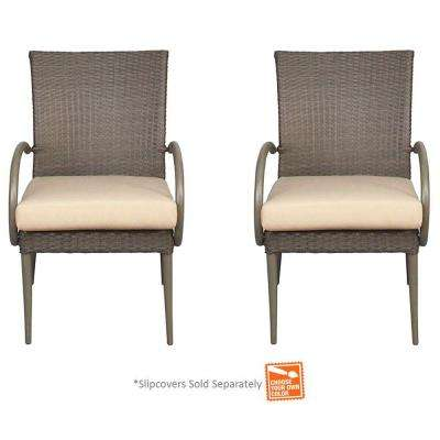 Posada Patio Dining Arm Chair with Cushion Insert (2-Pack) (Slipcovers Sold Separately)