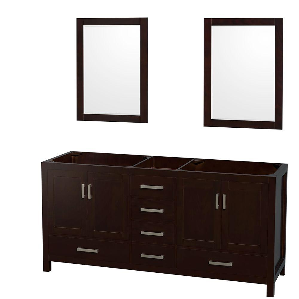 Wyndham Collection Sheffield 72 In Double Vanity Cabinet With 24 In Mirrors In Espresso