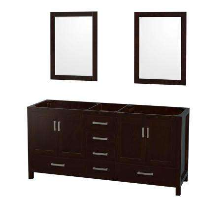 Sheffield 72 in. Double Vanity Cabinet with 24 in. Mirrors in Espresso