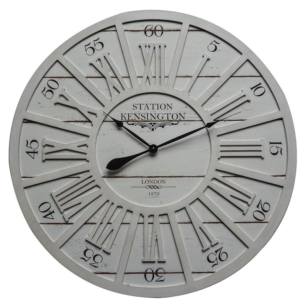 Kensington Station II Distressed Grey Analog Wall clock