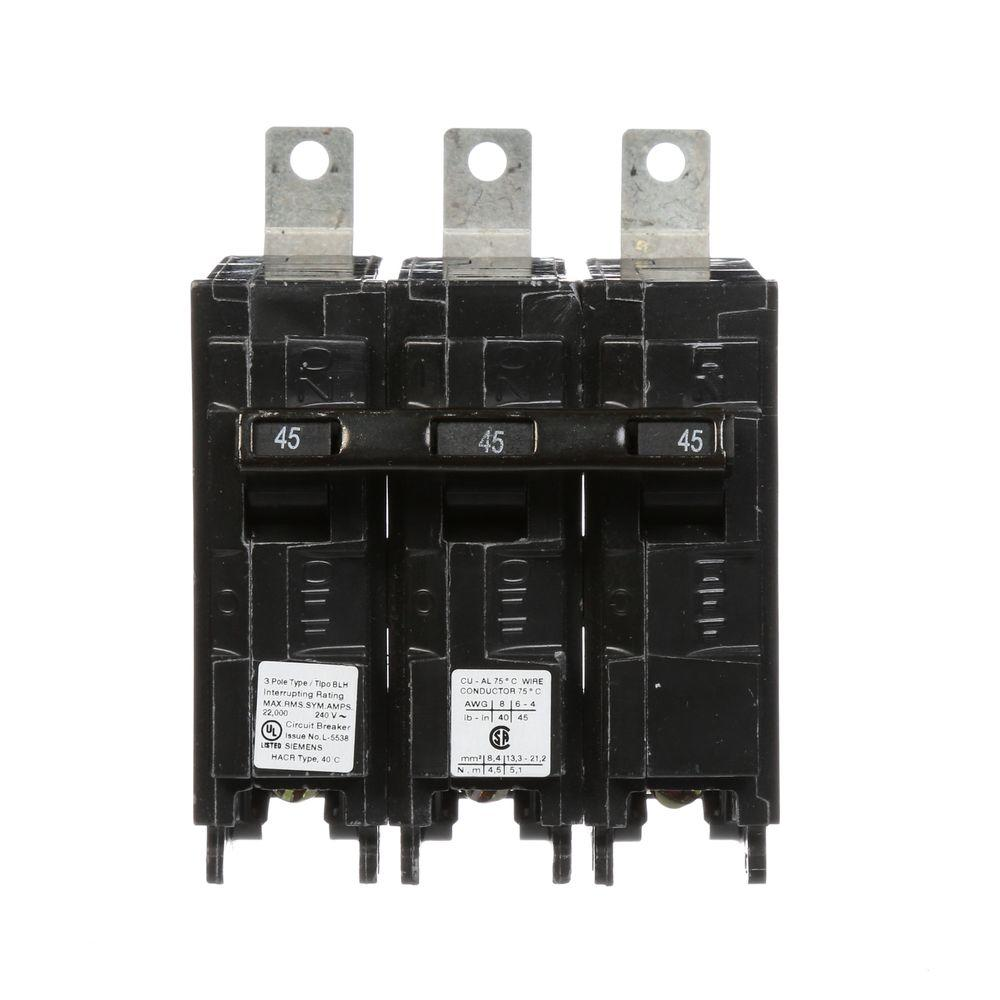 Square D Qo 45 Amp 3 Pole Plug In Circuit Breaker Qo345cp The Home Underside Of Brand Triple Type Blh 22 Ka Bolt On