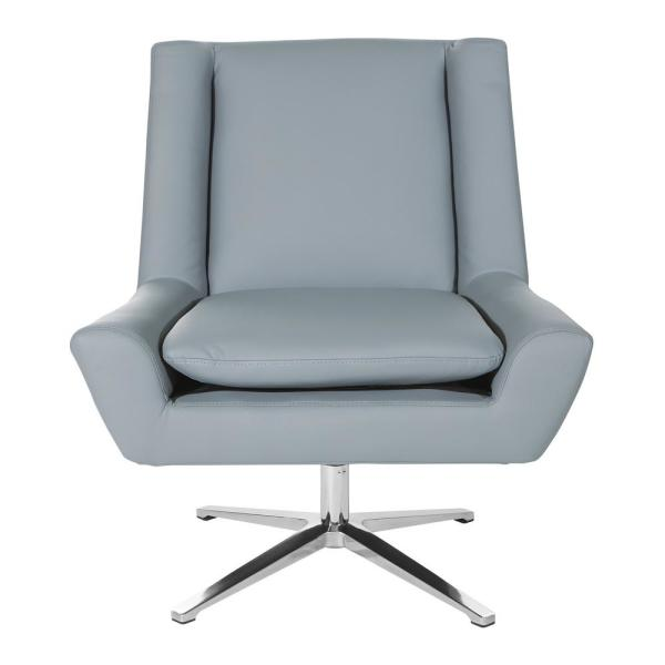 Grey Faux Leather and Aluminum Base Swivel Guest Chair