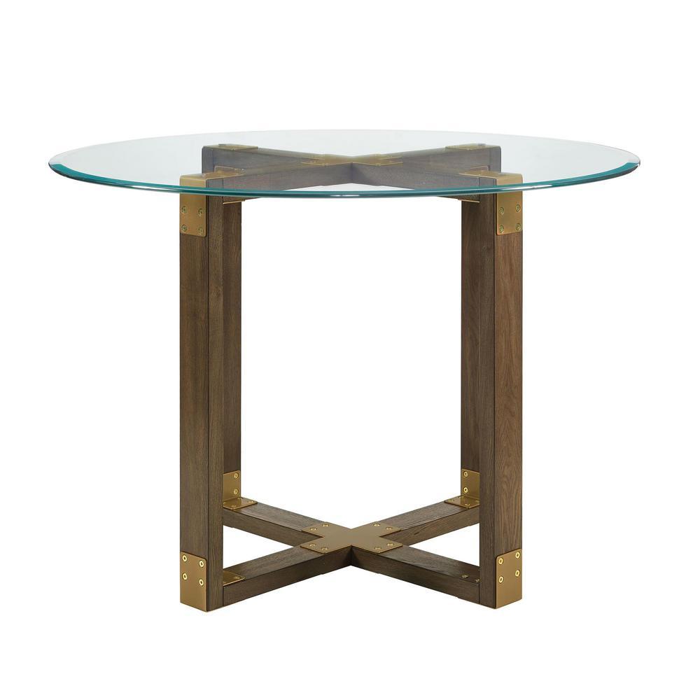 Twila Rustic Oak Glass Top Dining Table