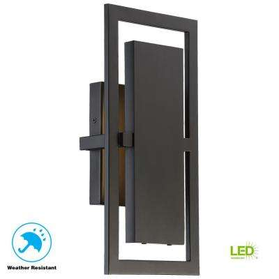 Railford 1-Light Oil Rubbed Bronze Outdoor Integrated LED Wall Mount Lantern Large with Etched Lens