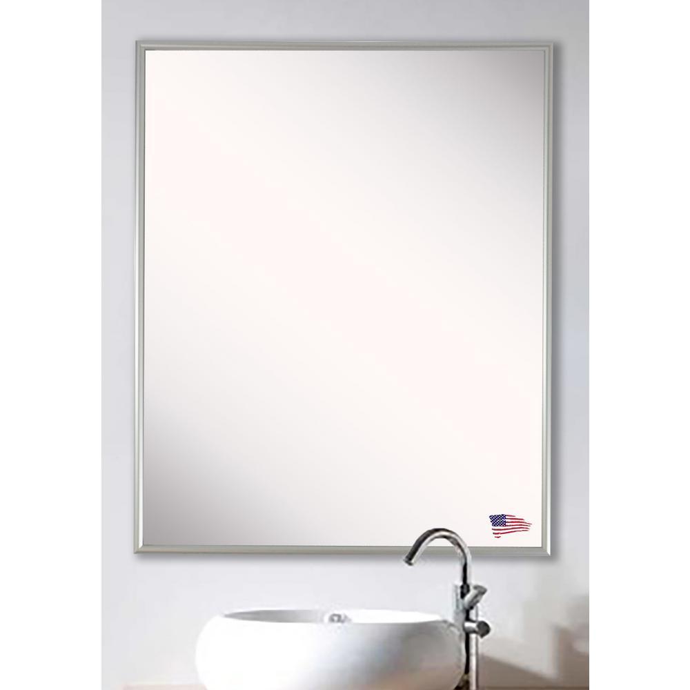 54.625 in. x 34.625 in. Charlie Satin Silver Vanity Wall Mirror