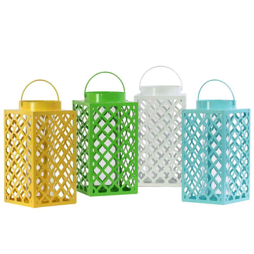 Multicolor Candle Metal Decorative Lantern